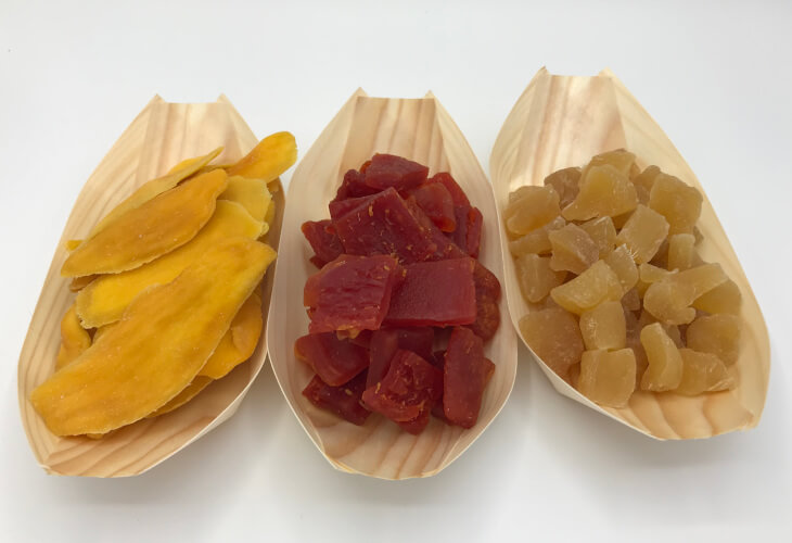Getrocknete Mango Papaya Ingwer